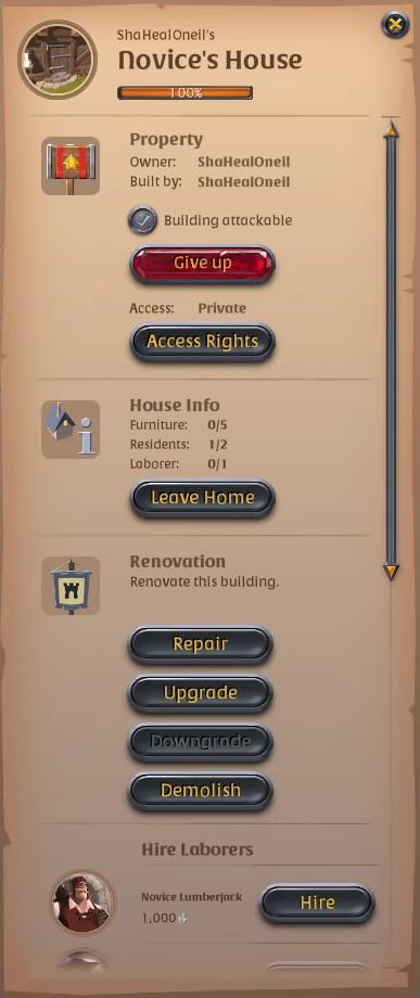 Albion Online Novice's House Menu