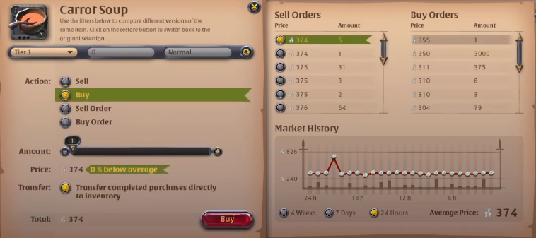 Albion Online Market Buy Tab