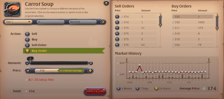 Albion Online Market Buy Order Tab