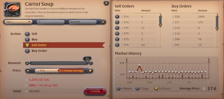 Albion Online Market Sell Order Tab