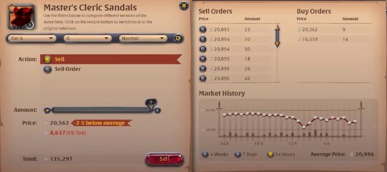 Black Market Sell window