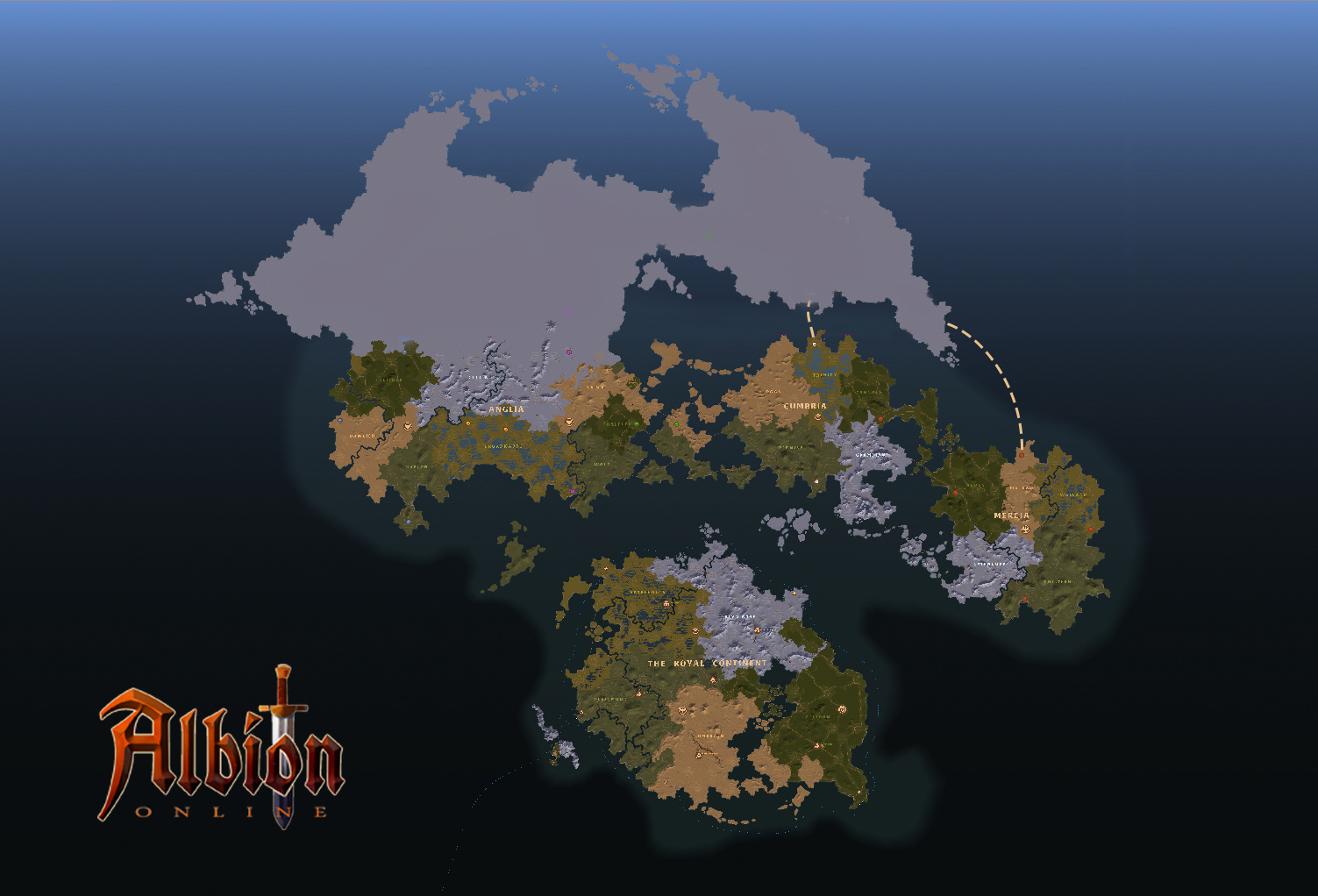 Albion Online, The Royal Continent, and The Outlands map