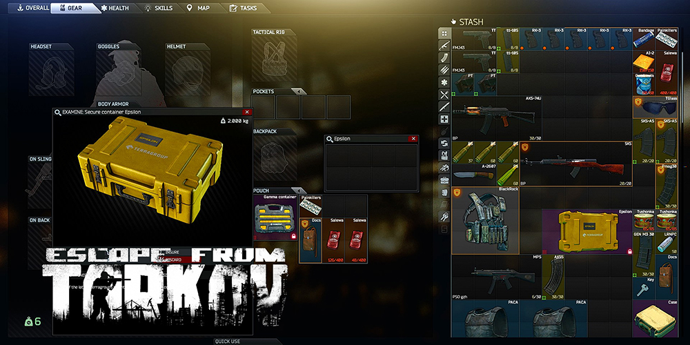 Escape from Tarkov containers navigation menu namespaces variants