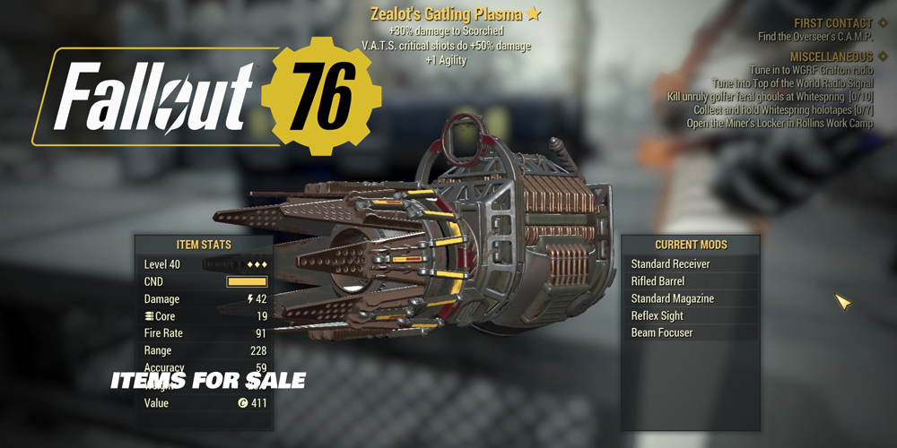 Fallout 76 Items for Sale x 01 bases