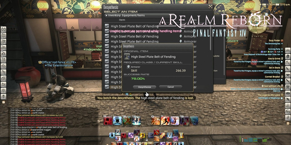 FFXIV Desynth Fieldcraft Crafted Tokens endgame items section
