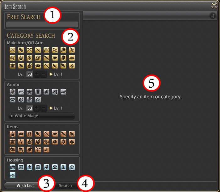 FFXIV Market Boards Item Search window