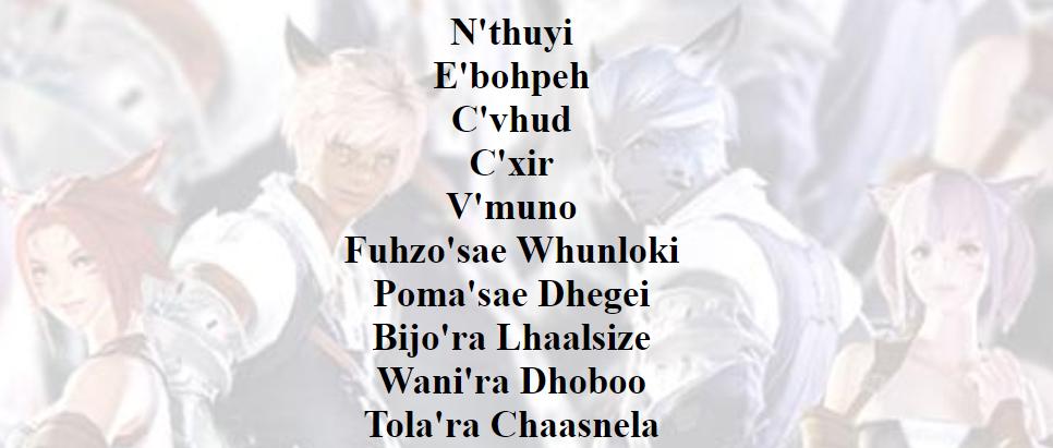 FFXIV Miqo'te names item