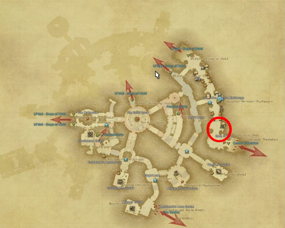 FFXIV Taking the Red place, nearby to Pugilist Guild