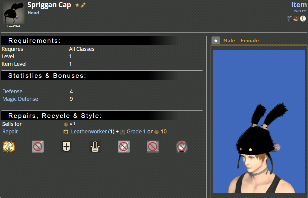 FF14 Spriggan Cap description