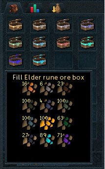 Ore boxes mean fewer trips to the bank. The Elder rune box, let's you store up 100 ores from all minerals.